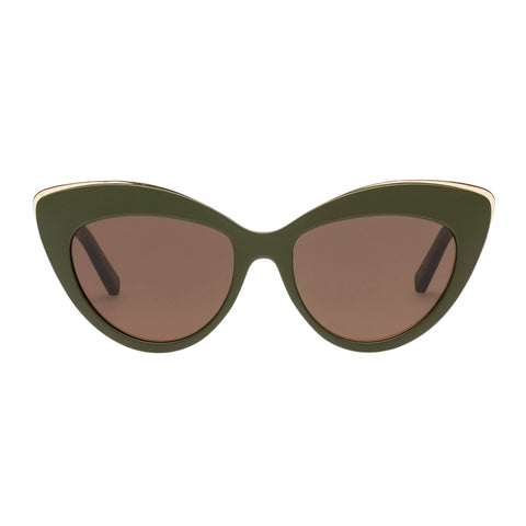 Le Specs Female Beautiful Stranger Khaki Cat-eye Sunglasses