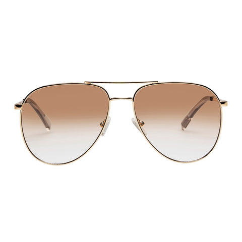 Le Specs Uni-sex Road Trip Gold Aviator Sunglasses