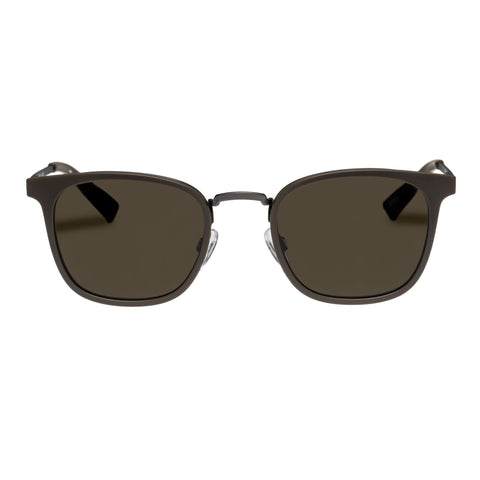 Le Specs Uni-sex Racketeer Khaki Modern Rectangle Sunglasses