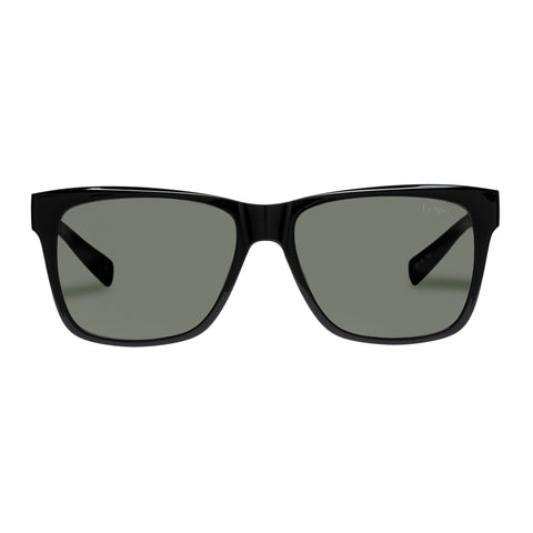 Le Specs Male Systematic Black Modern Rectangle Sunglasses