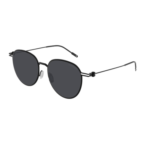 Montblanc Male Mb0002sa Black Round Sunglasses