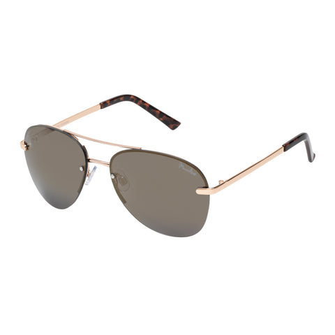 Mambo Female Freedom Gold Aviator Sunglasses