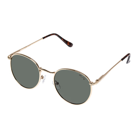 Mambo Uni-sex Cyan Gold Round Sunglasses