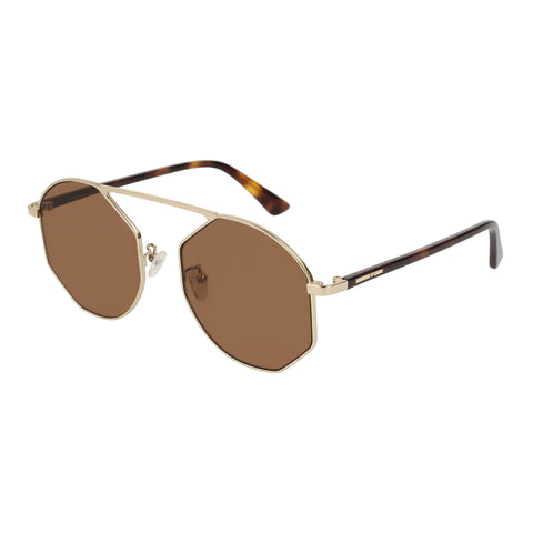 Mcqueen Uni-sex Mq0146sa Gold Round Sunglasses