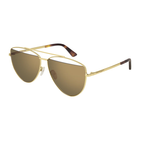 Mcqueen Uni-sex Mq0157s Gold Aviator Sunglasses