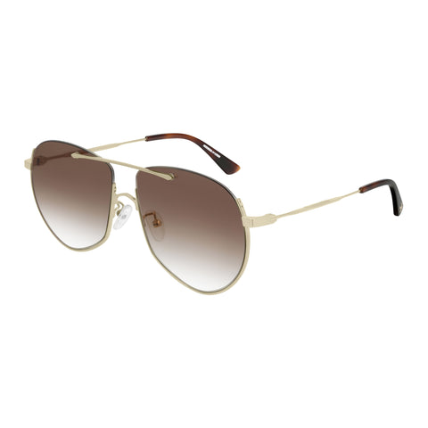 Mcqueen Uni-sex Mq0203s Gold Aviator Sunglasses
