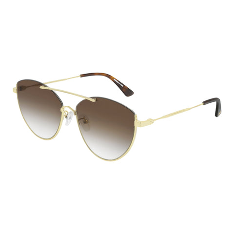 Mcqueen Female Mq0214sa Gold Cat-eye Sunglasses