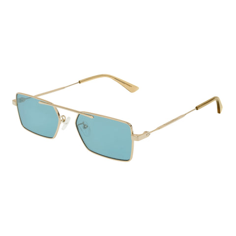 Mcqueen Uni-sex Mq0215sa Gold Modern Rectangle Sunglasses