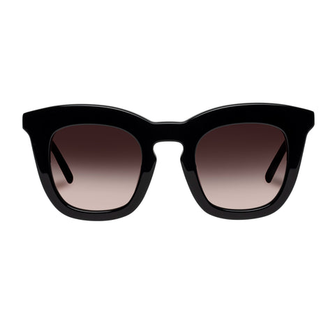 Oroton Female Duo Black Modern Rectangle Sunglasses