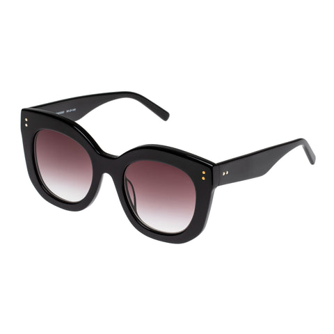 Oroton Female Wyatt Black Modern Rectangle Sunglasses