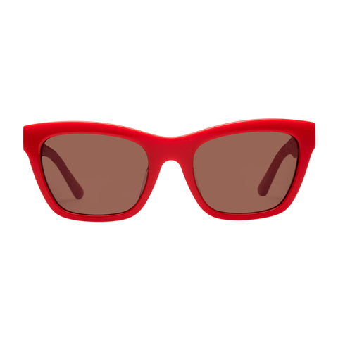 Sass And Bide Female Ruby Rouge Red Modern Rectangle Sunglasses