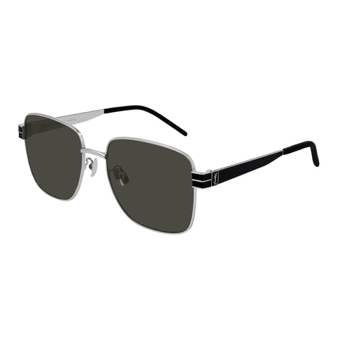 Saint Laurent Uni-sex Slm55 Silver Rectangle Sunglasses