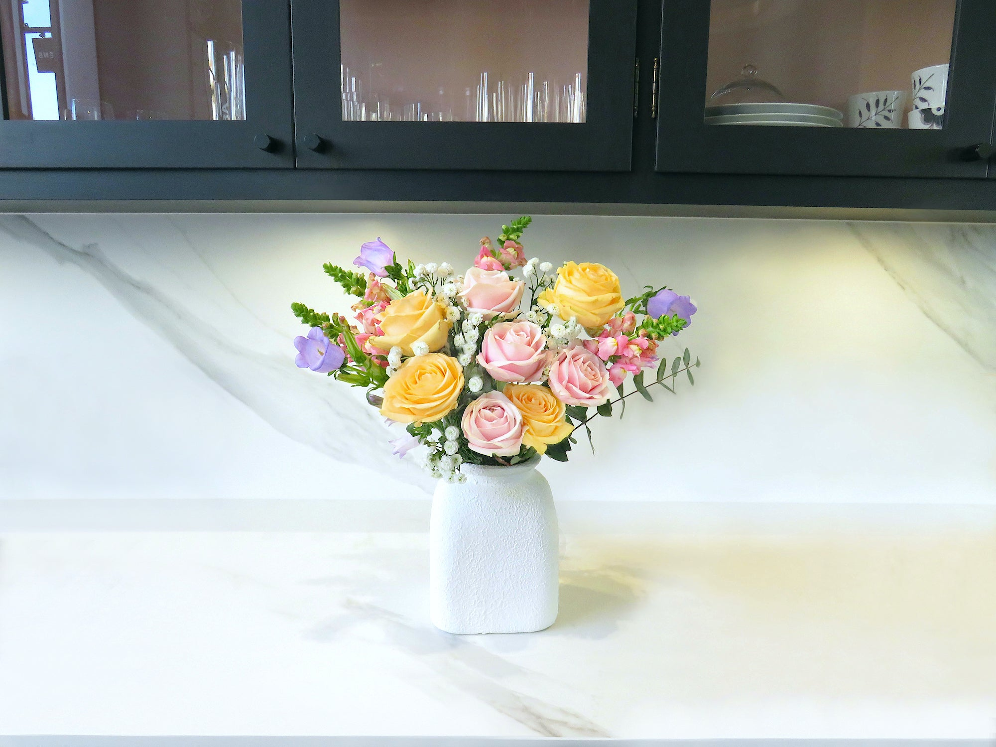 pastel flower bouquet in kitchen lov flowers letterbox