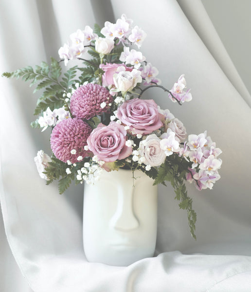 flower vase bouquet pink roses arrangement