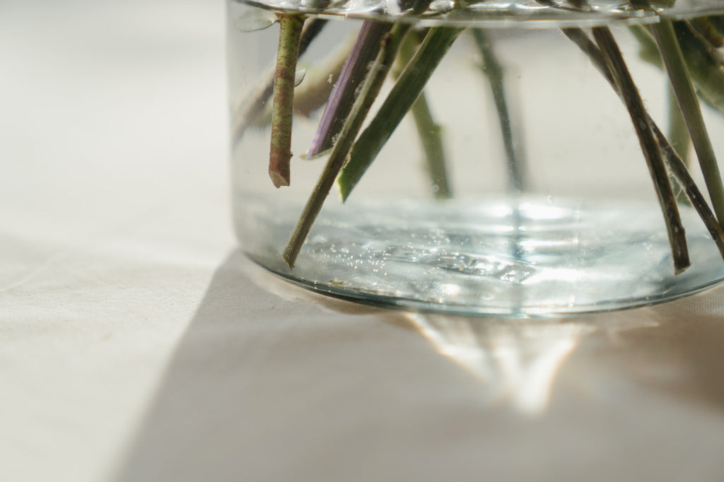 clear vase with stems - lov flowers
