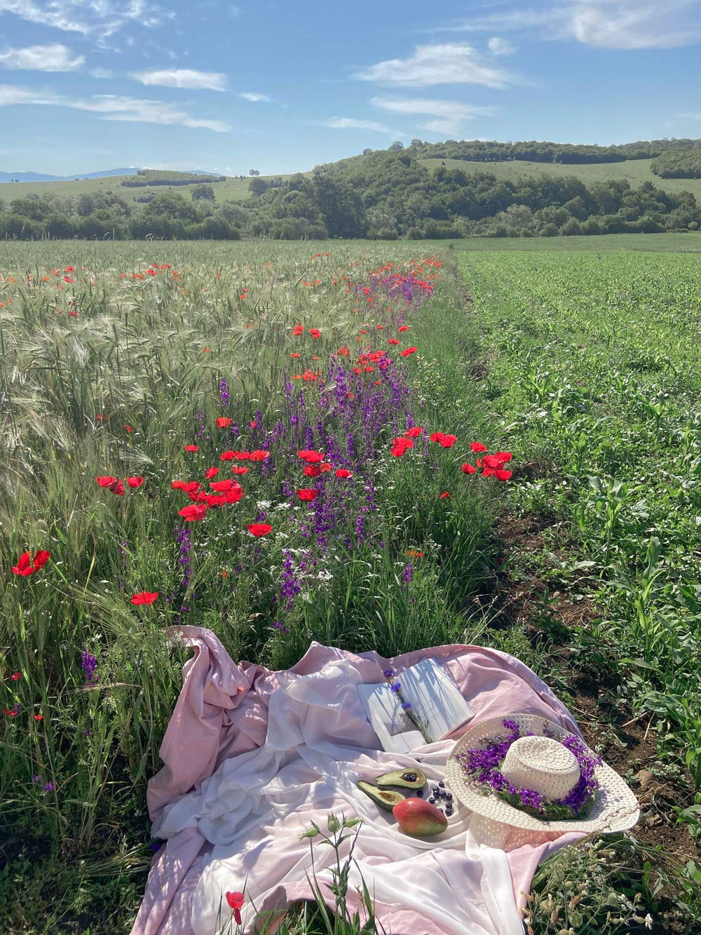picnic blanket with food in a wildflower field
