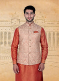Beige Orange Embroidery  Half Jacket