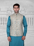 Beige Turquoise Embroidered Half Jacket
