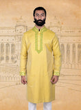 Yellow Jacquard Kurta With Embroidery