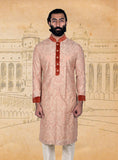 Beige Orange Embroidered Silk Kurta