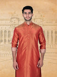Orange Red Silk Kurta
