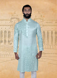Aqua Linen Silk Embroidered Kurta