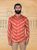 Red / White Silk Lehriya Shirt