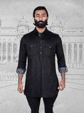 Black Linen Short Pathani