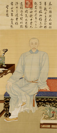 Portrait of Yinli, Prince Guo, with orchids in planter (right, front) (1672–1736). China, Qing dynasty, 1731