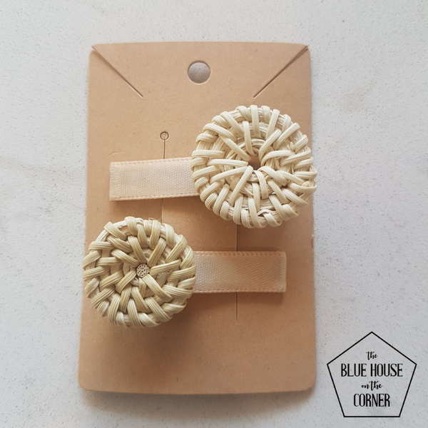 Blonde Round Mini Hair Clip set