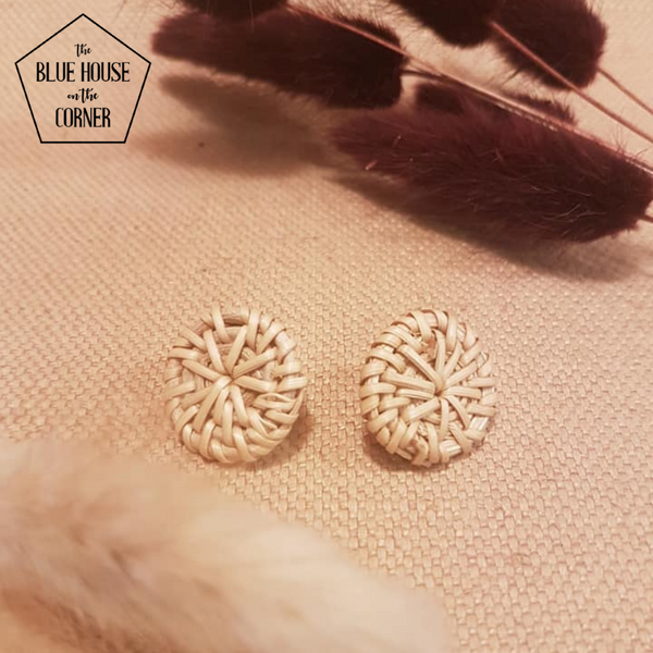 Rattan Earrings Studs