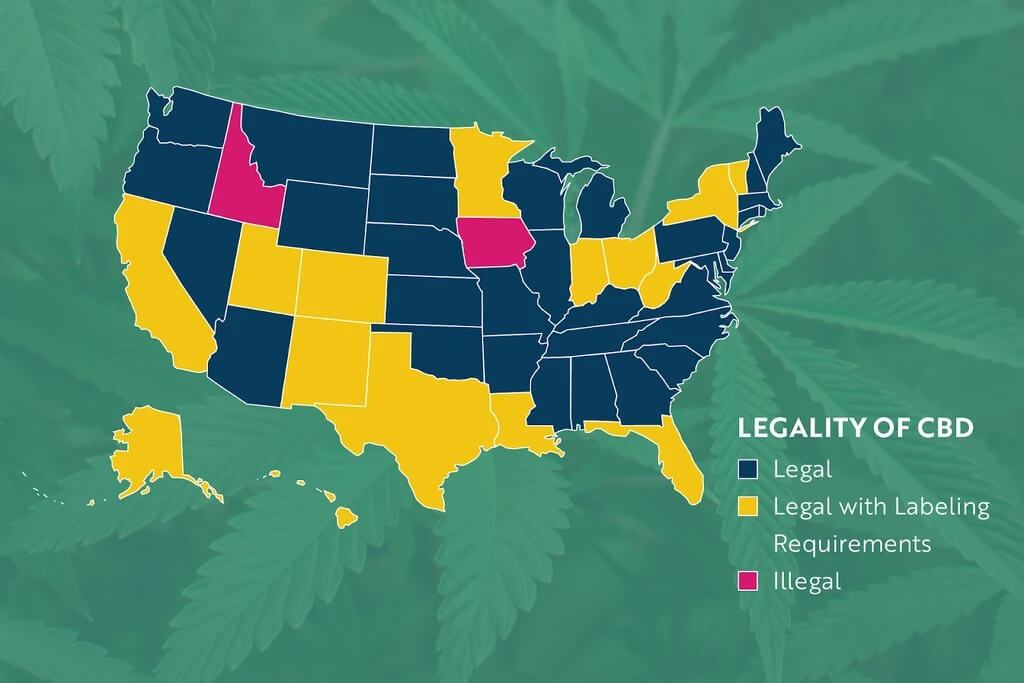 A CBD legal map of the United States.