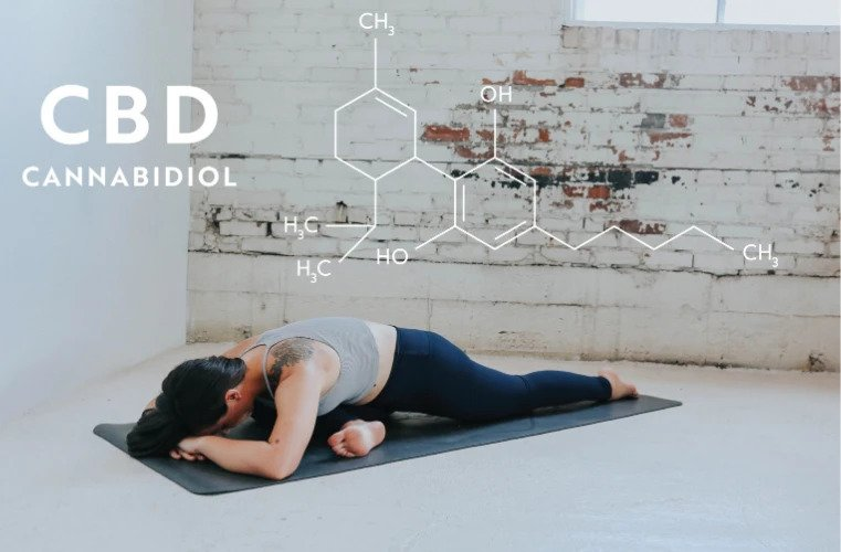CBD molecule and woman stretching