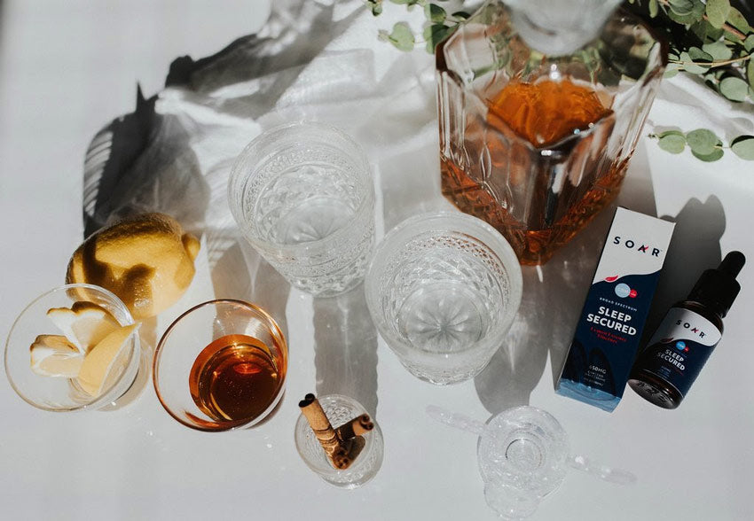 The ingredients laid out for a CBD oil drink recipe