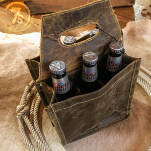 Oiled Leather 6 Pack Caddy