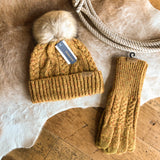 Cable Knit Gloves {mustard}