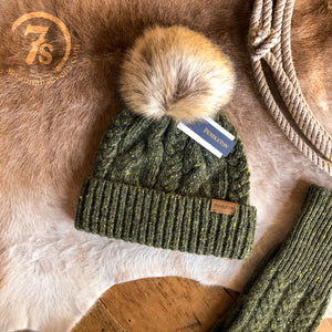 Cable Knit Stocking Cap {olive}