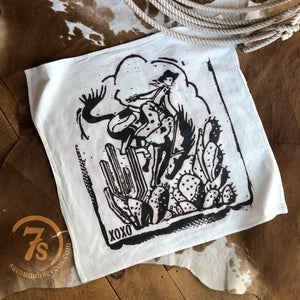 Cowboy and Cactus Tea Towel