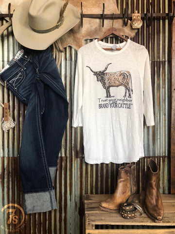 The Brand your Cattle {3/4 slub tee}