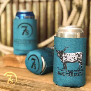 Brand Your Cattle Koozie {teal}