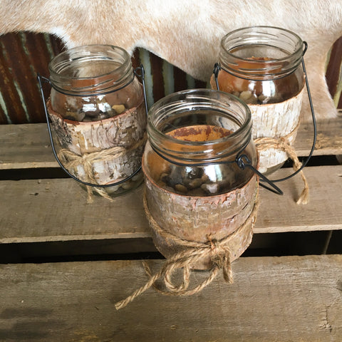 Bark Wrapped Mason Jars