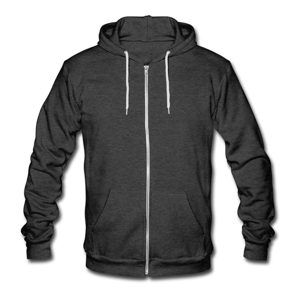 Unisex Fleece Zip Hoodie - charcoal gray