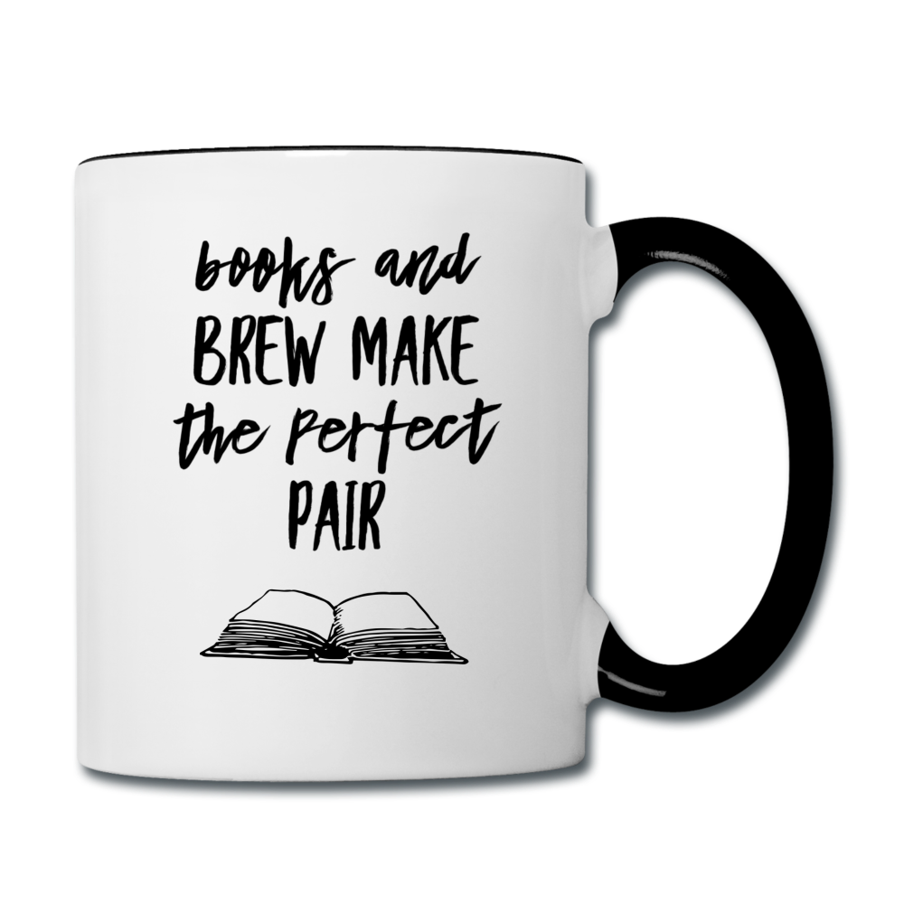 Books and Brew Contrast Coffee Mug - white/black