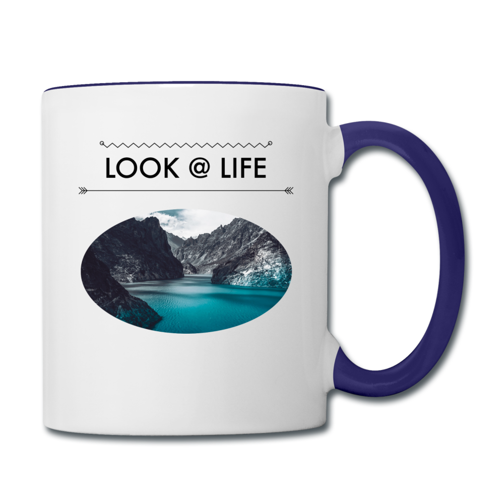 Look @ Life Contrast Coffee Mug - white/cobalt blue