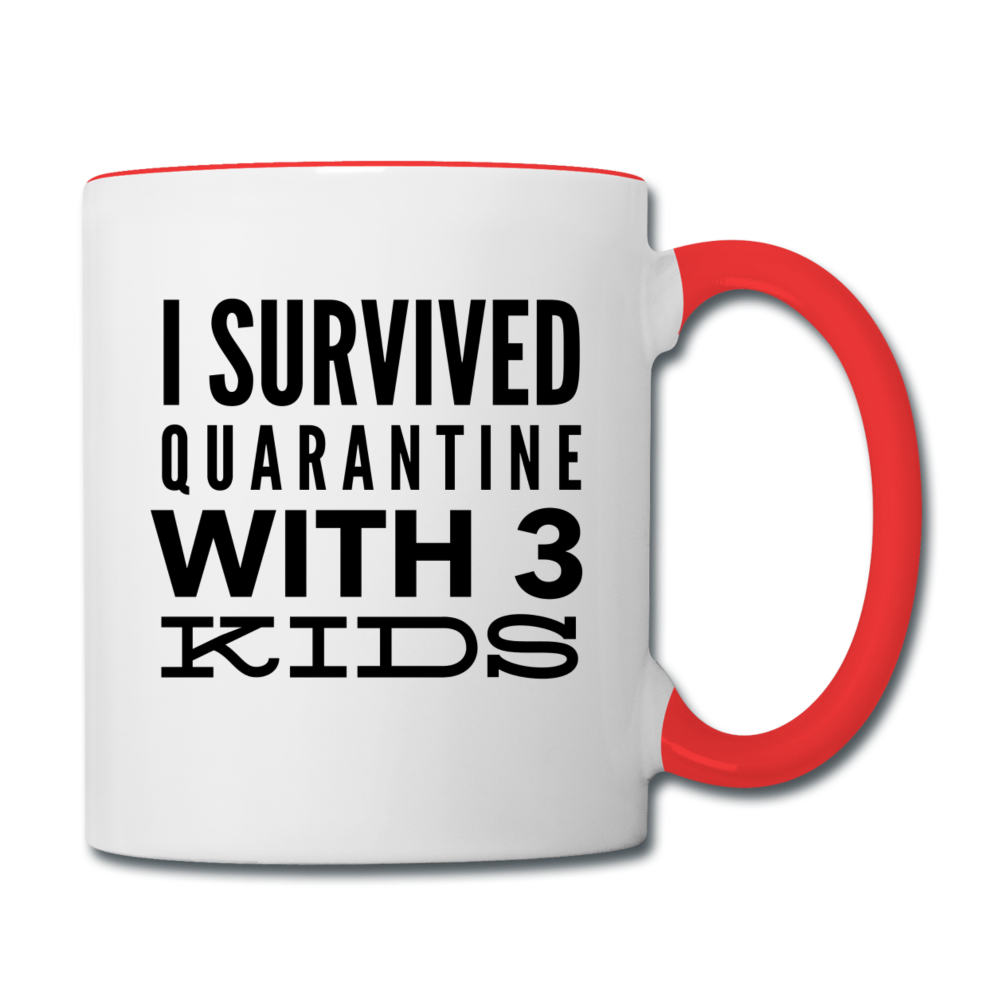 I Survived Quarantine With 3 Kids Contrast Coffee Mug - white/red