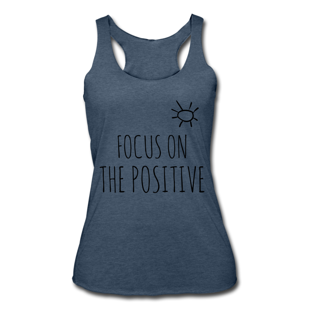 Focus On The Positive Women's Tri-Blend Racerback Tank - heather navy