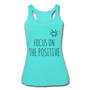 Focus On The Positive Women's Tri-Blend Racerback Tank - turquoise