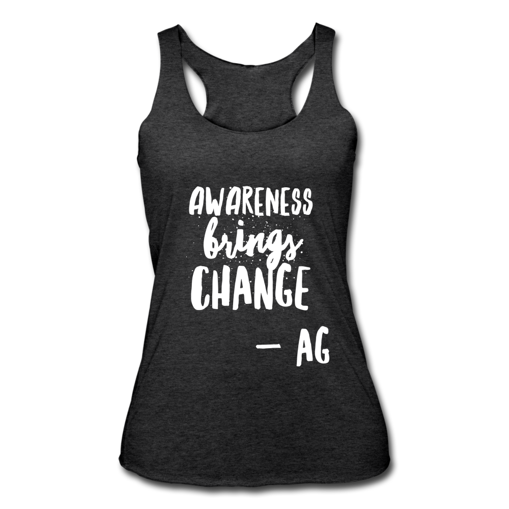 Awarness Brings Change Women's Tri-Blend Racerback Tank - heather black