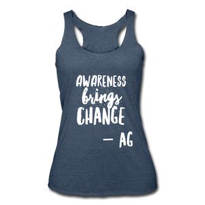 Awarness Brings Change Women's Tri-Blend Racerback Tank - heather navy