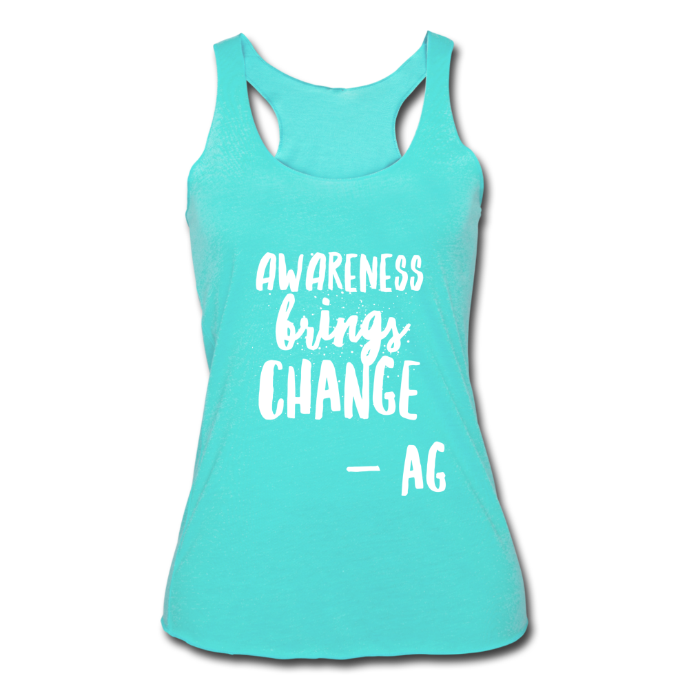 Awarness Brings Change Women's Tri-Blend Racerback Tank - turquoise